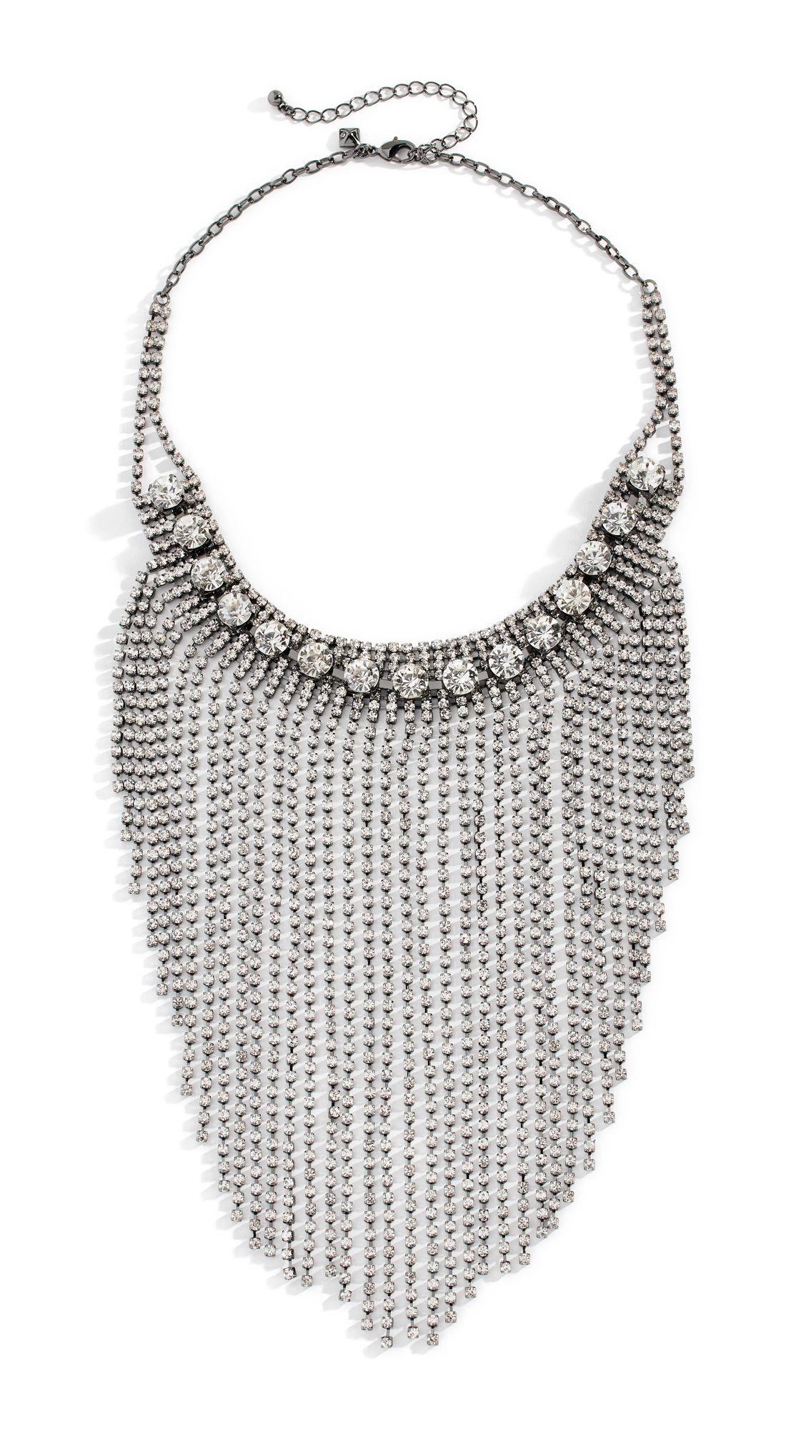 Rebecca Minkoff Cascading Crystal Fringe Necklace In Silver