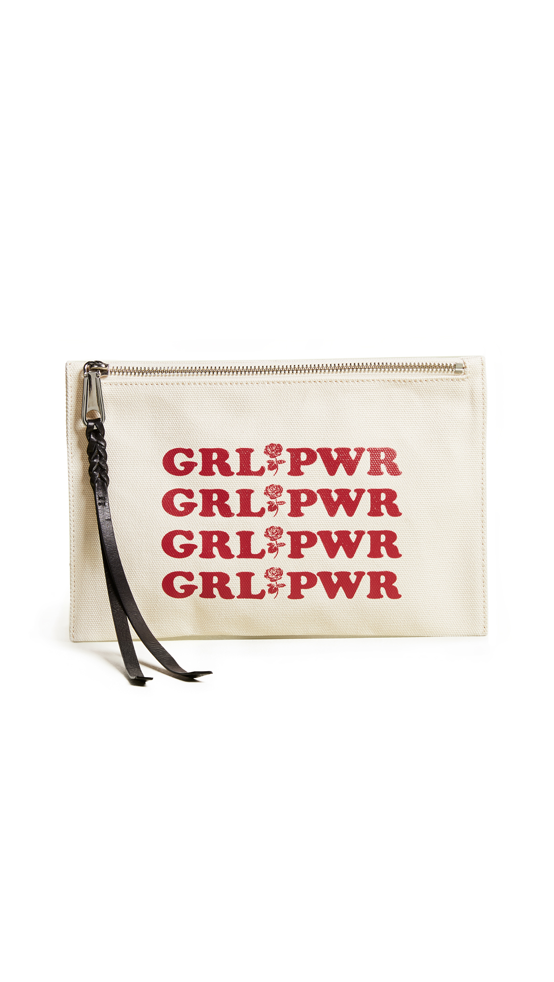 Girl Power Medium Zip Pouch - White, Cream