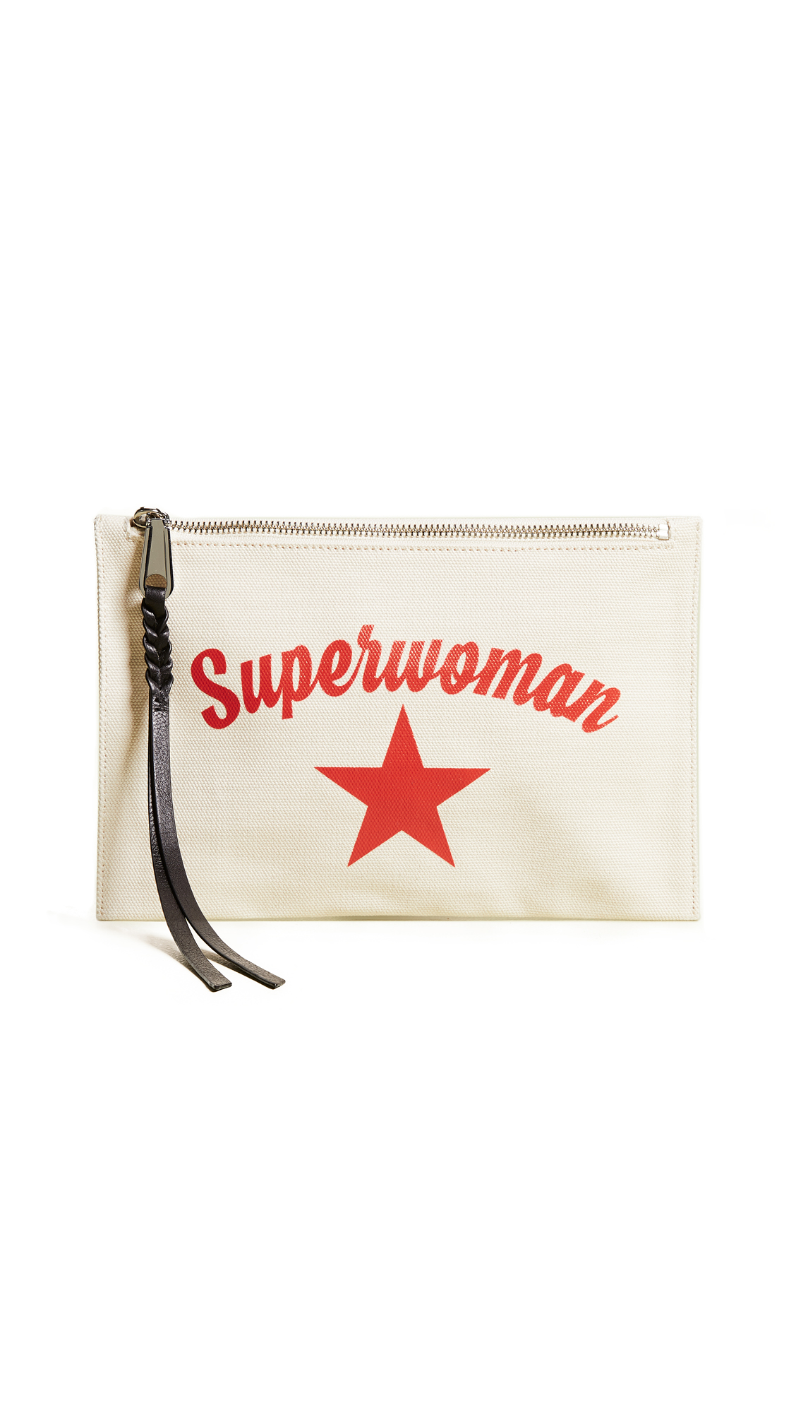 Superwoman Medium Zip Pouch - Ivory, Cream