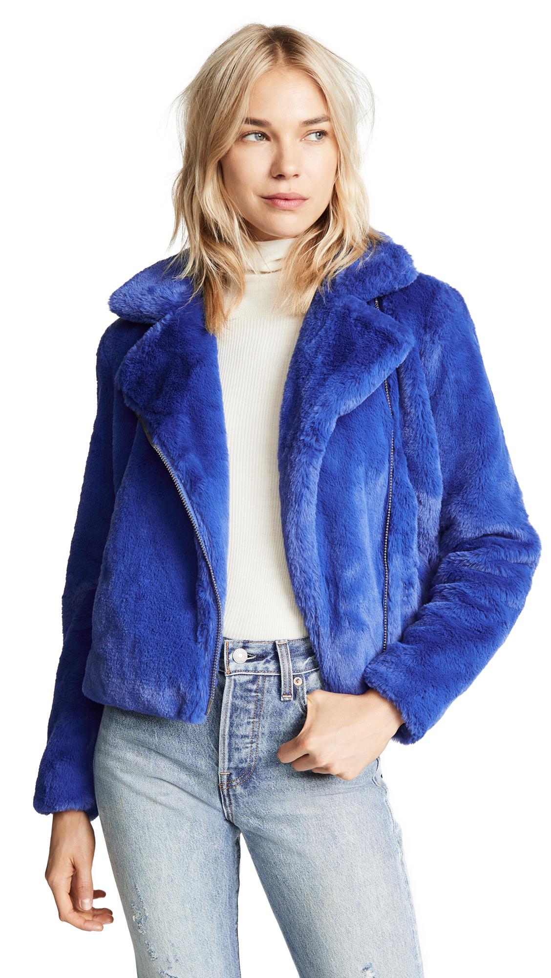 Henderson Faux Fur Moto Jacket, Blue
