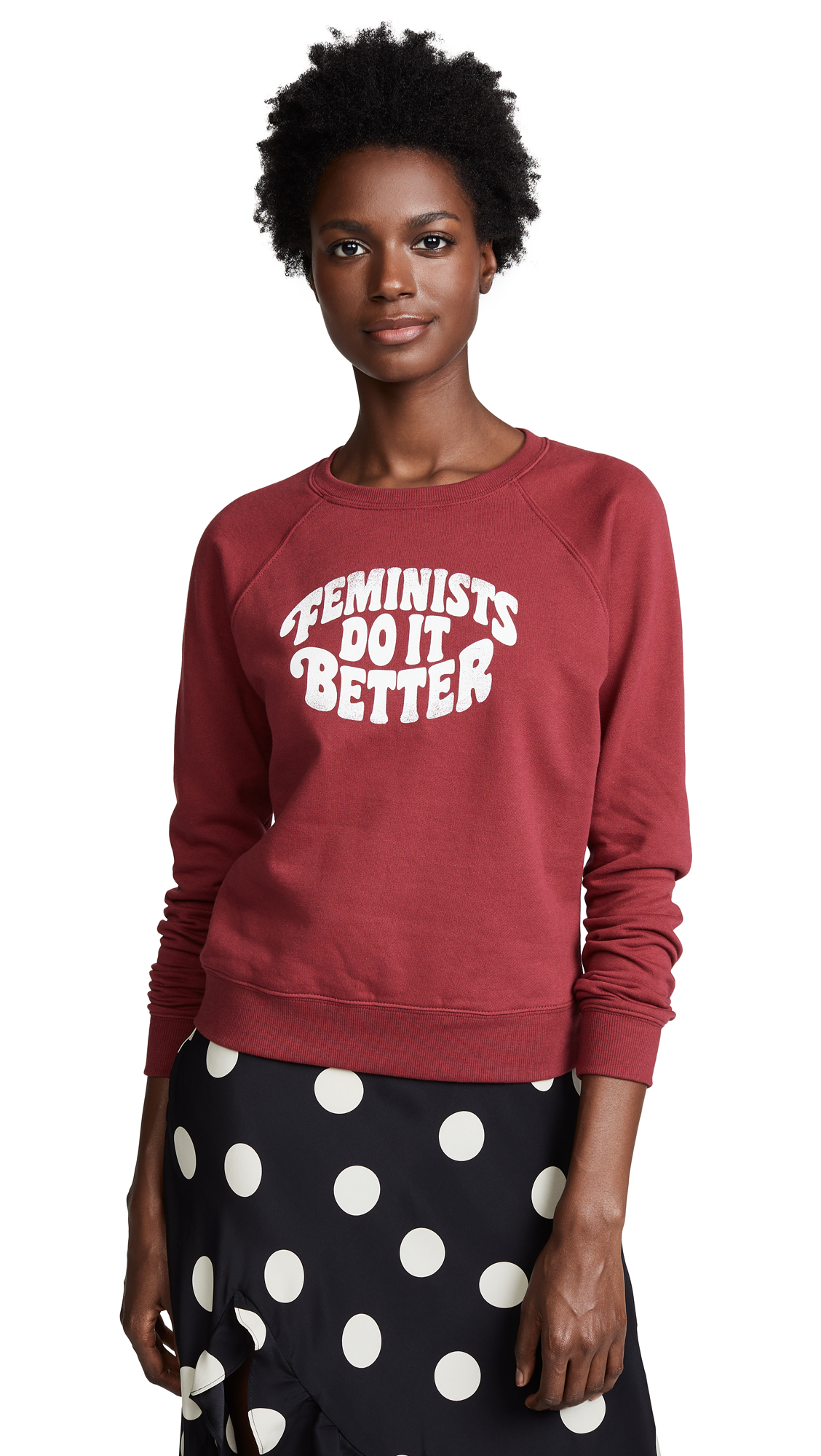 Jennings Feminists Do It Better Sweatshirt, Dark Red/ White