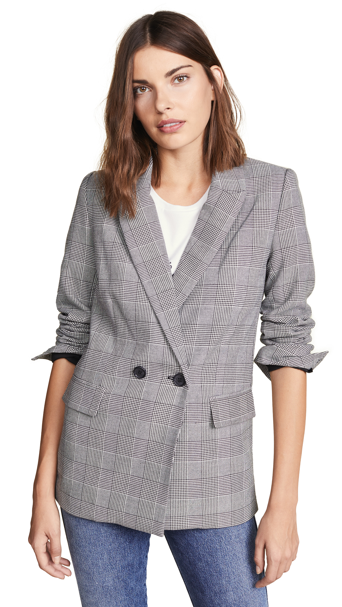 Celia Single-Button Check Jacket in Black Multi