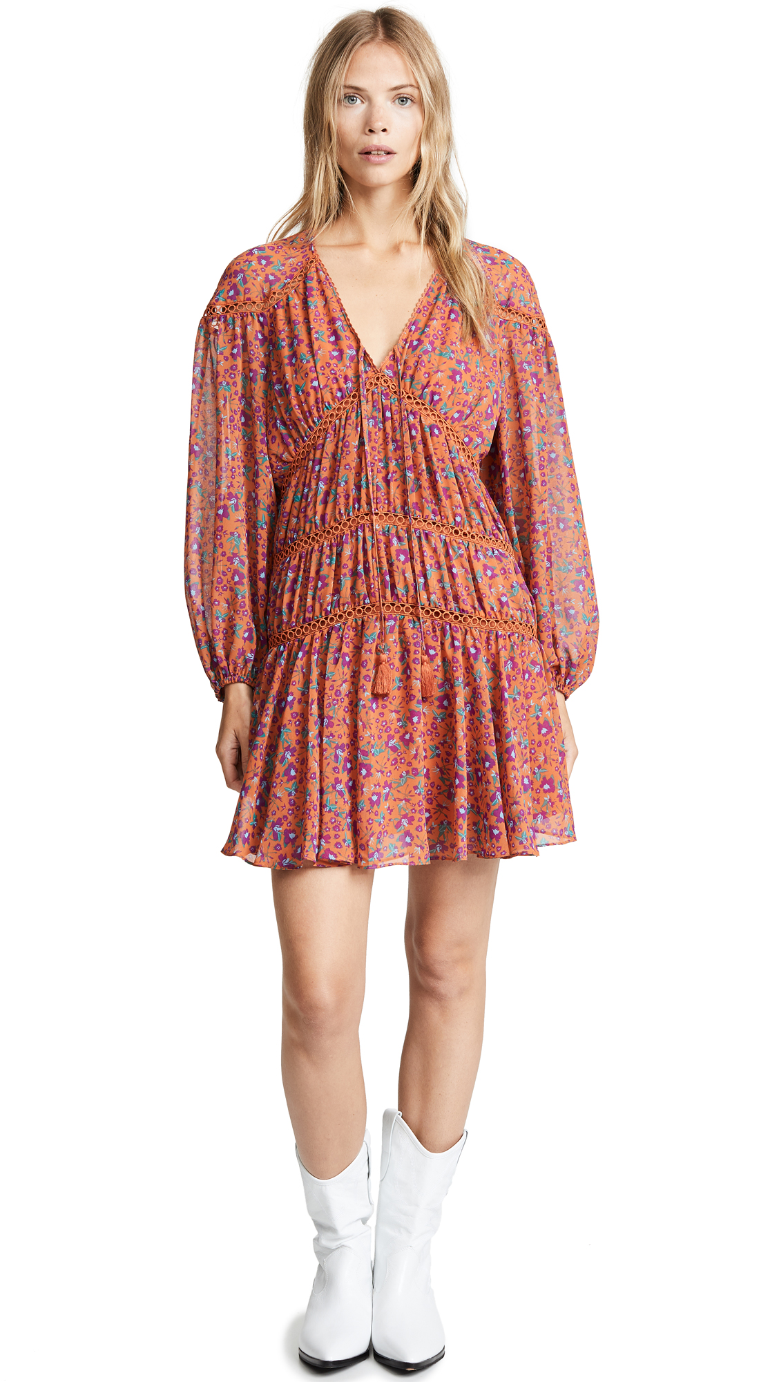 Rebecca Minkoff Caden Dress In Rust Multi