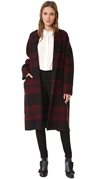 Rochas Plaid Coat - Medium Red