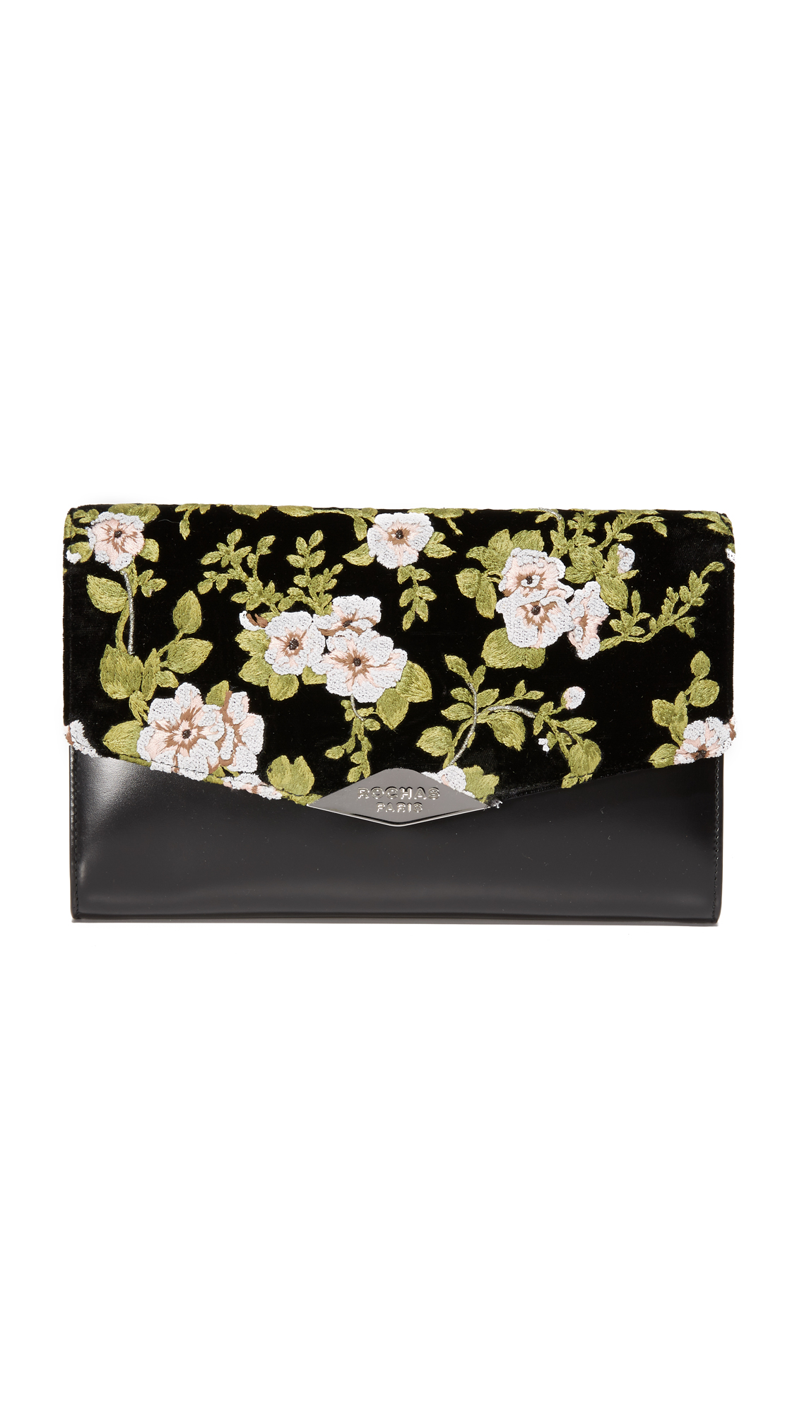 rochas female rochas embroidered clutch black
