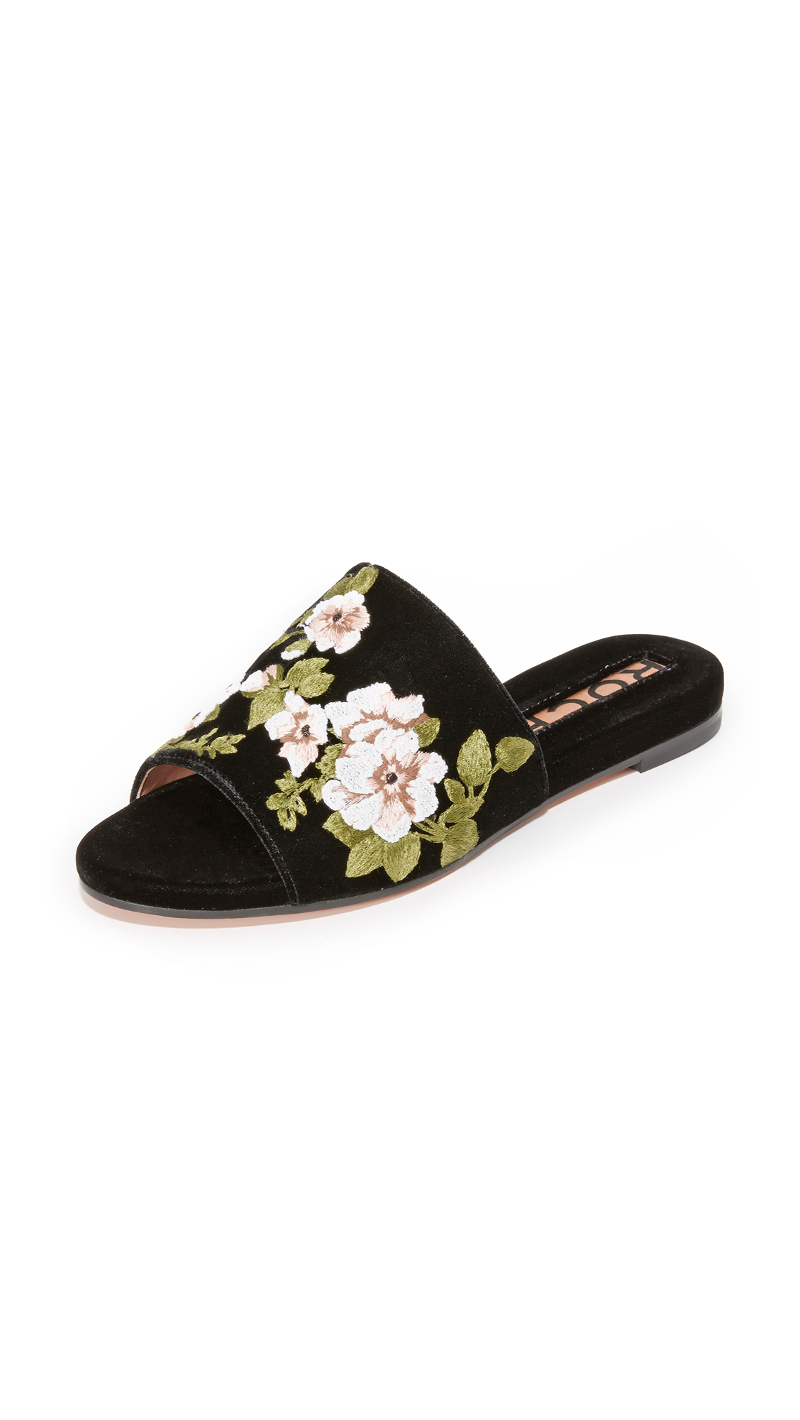 Floral embroidery accents these plush velvet Rochas slides. Covered footbed and leather sole. Fabric: Velvet. Made in Italy. Size & Fit. Available sizes: 36,38