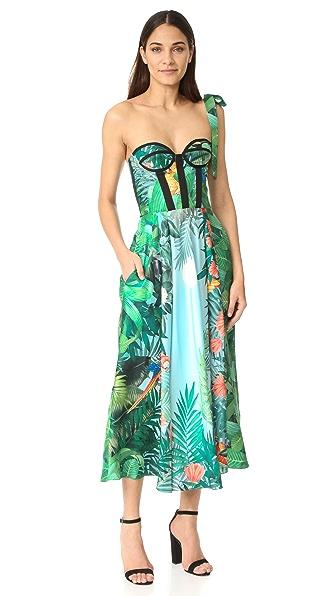 Rochas Платье с принтом без бретелек