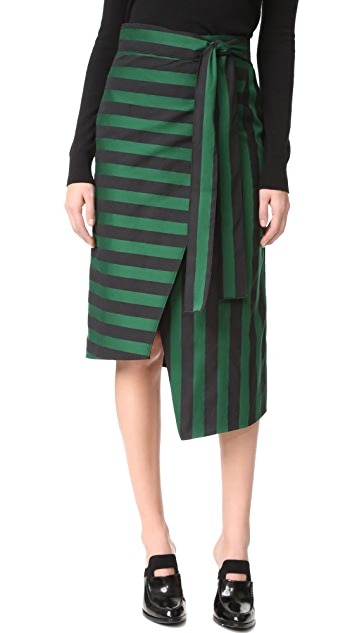 Rochas Striped Wrap Skirt