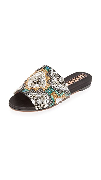 Rochas Crystal Slides - Black Satin