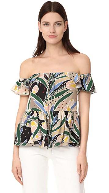 Rochas Print Off Shoulder Top