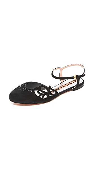 Rochas Ankle Strap Flats - Nero
