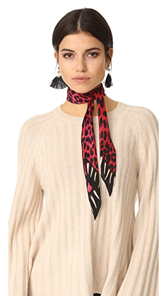 Rockins Leopard s Teeth Super Skinny Scarf - Pink