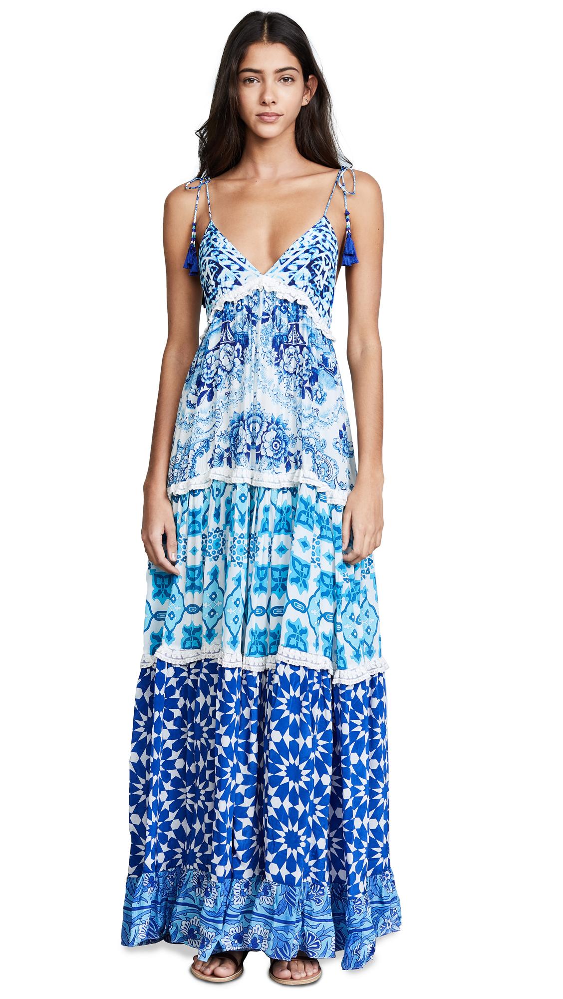 ROCOCO SAND Oriental Labyrinth Dress In Blue