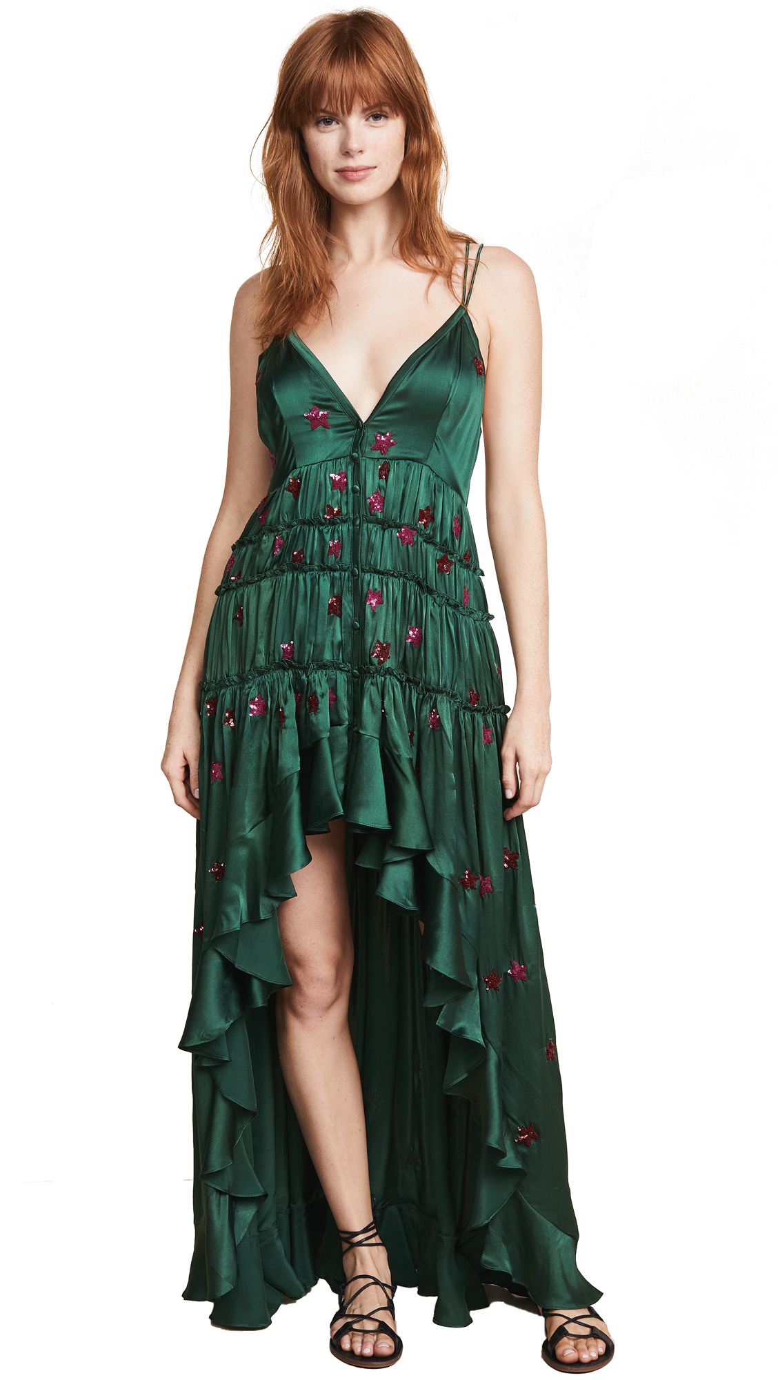 ROCOCO SAND High Low Dress in Green