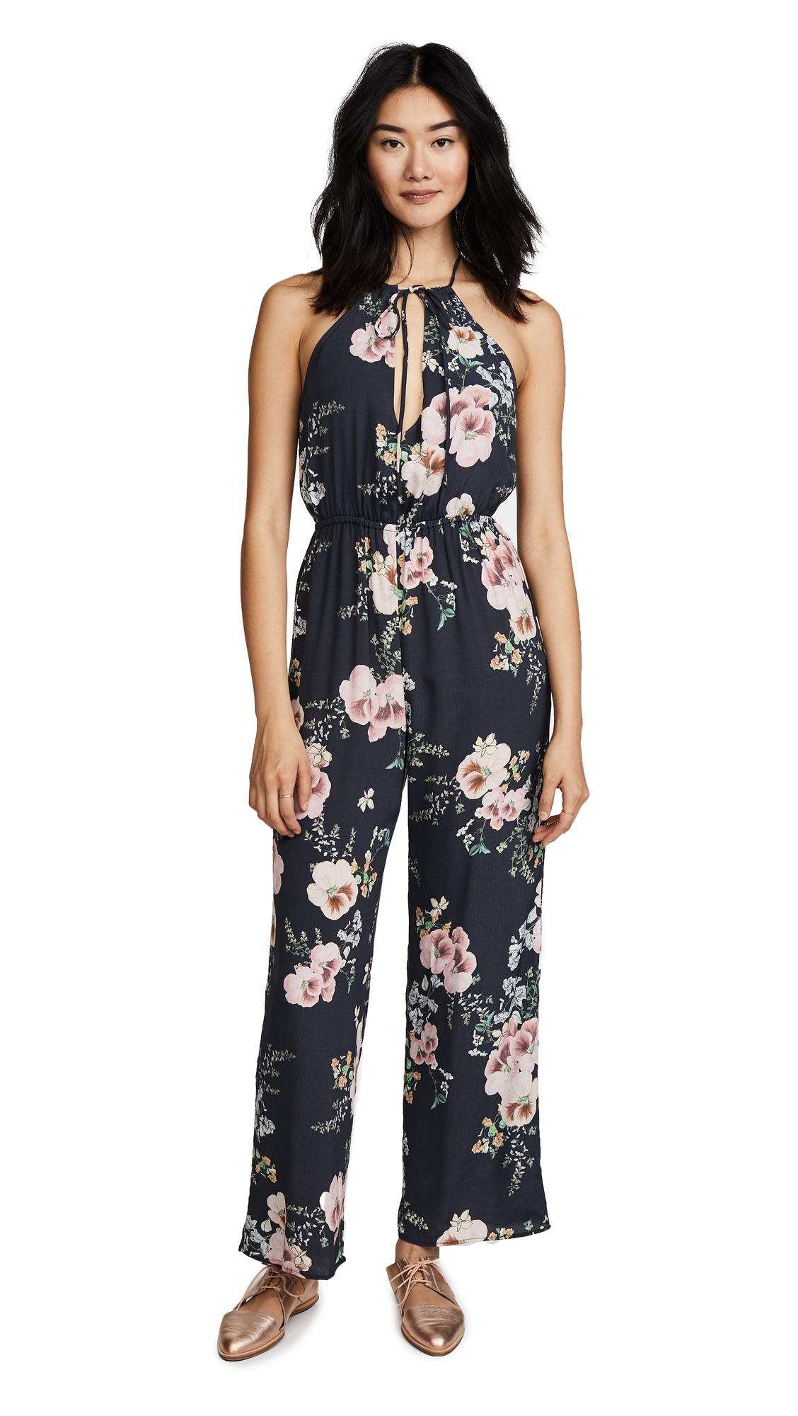 Roe + May Tova Jumpsuit - Indigo Bouquet Print