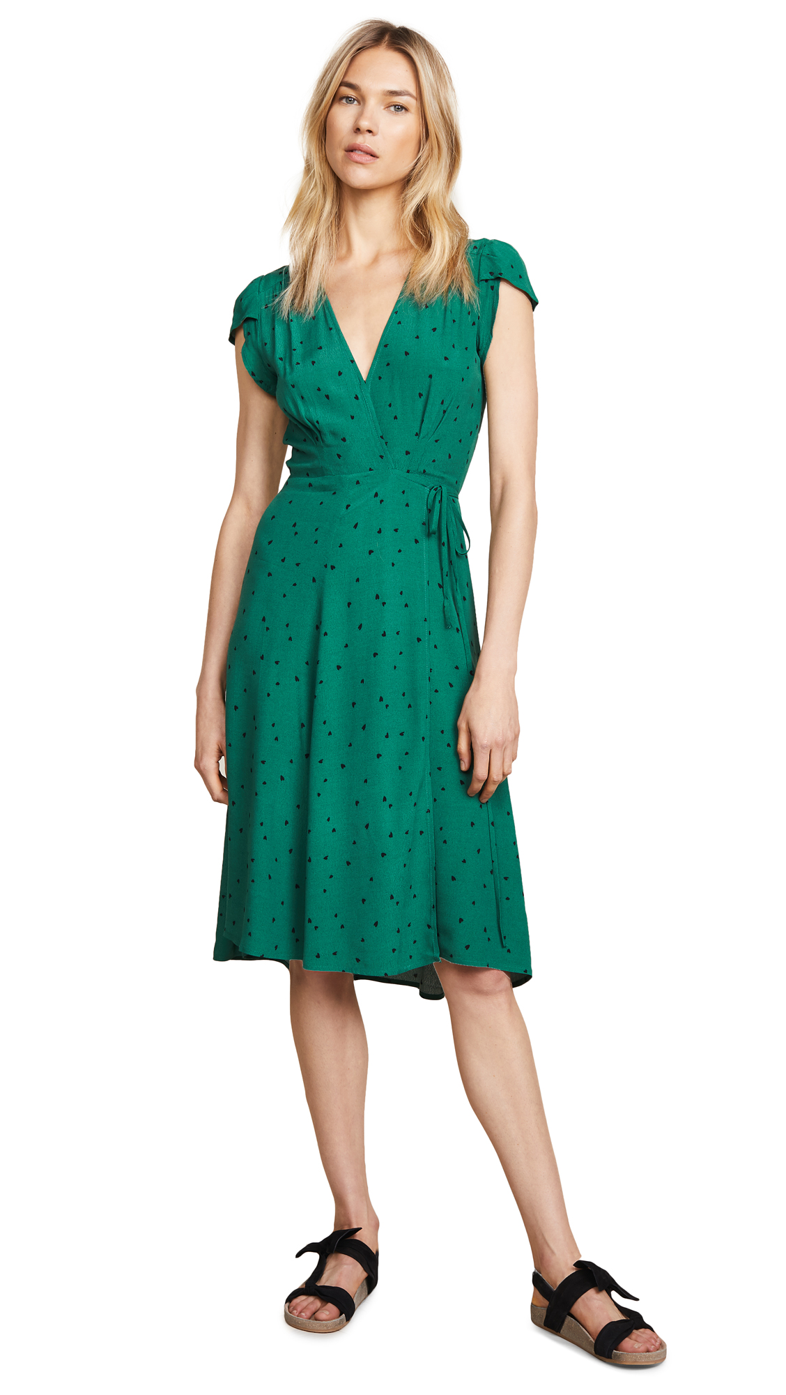 Midi Dancer Wrap Dress, Green Hearts