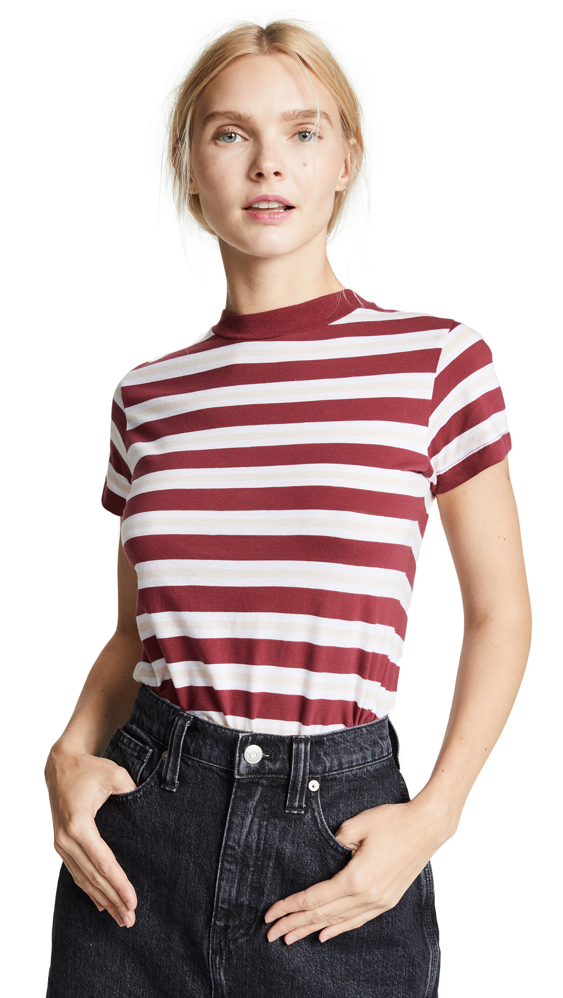 ROLLA'S Stripe Crew Tee in Currant