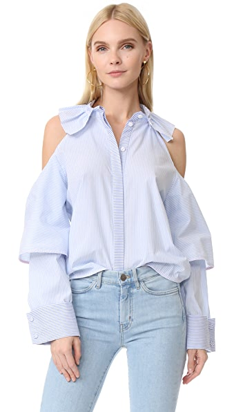 Romanchic Apple Shoulder Shirt - Sky Stripe