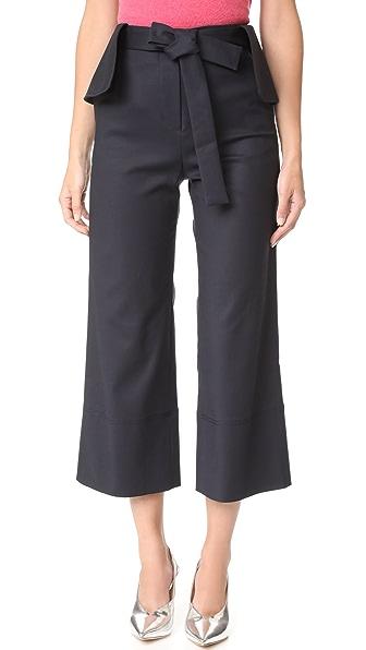 Romanchic Flare Belt Pants - Navy