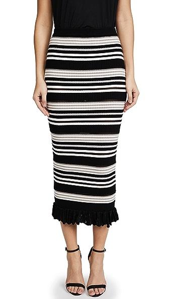 Ronny Kobo Marta Skirt In Neutral Stripe