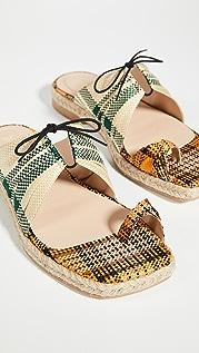 Rosie Assoulin 裥褶时尚鞋头麻编凉拖鞋