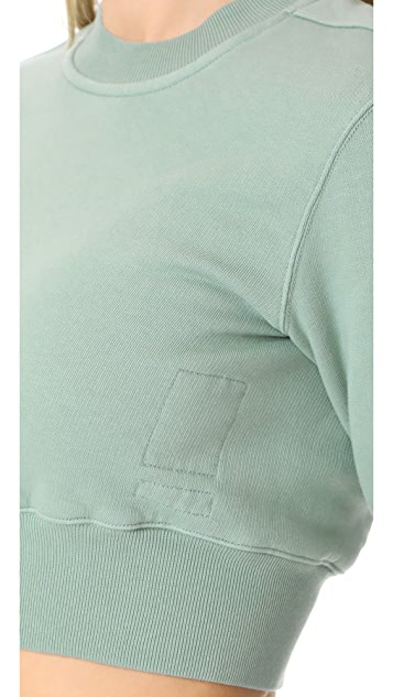 Rick Owens DRKSHDW Crew Neck Cropped Sweatshirt
