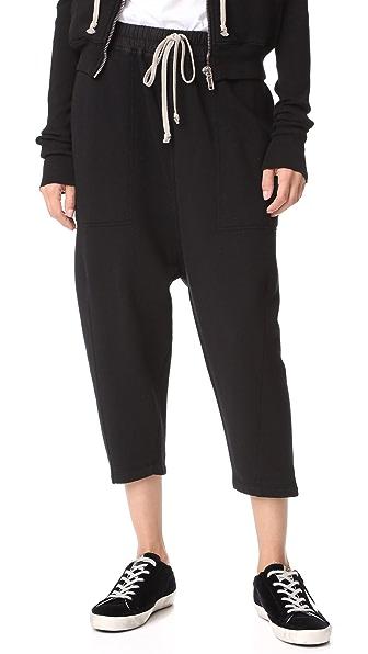 Rick Owens DRKSHDW Drawstring Cropped Sweatpants - Black