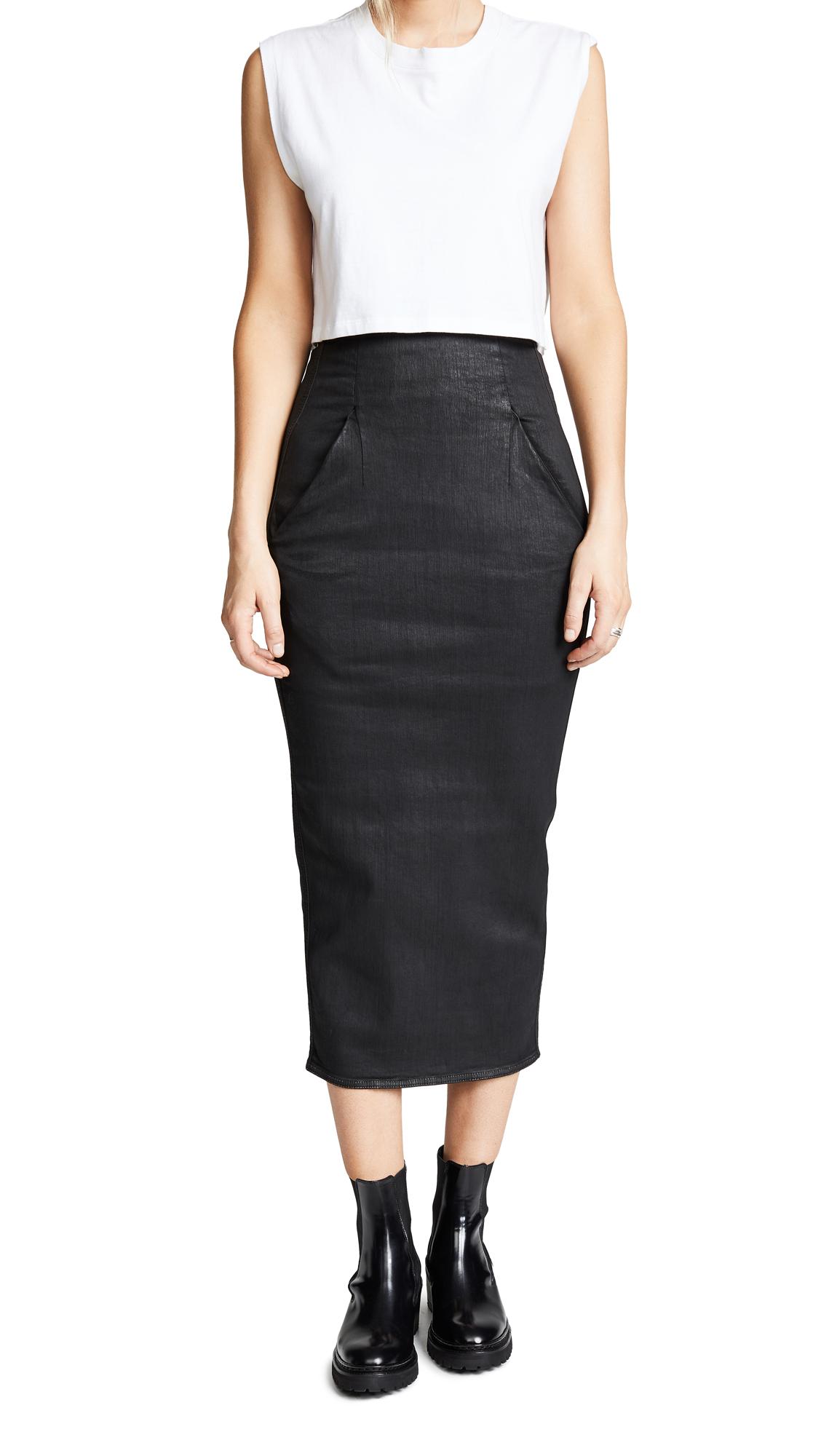 Rick Owens DRKSHDW Dirt Pillar Calf Length Skirt In Black
