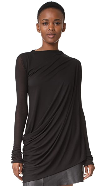 Rick Owens Lilies Drape Front Top In Black