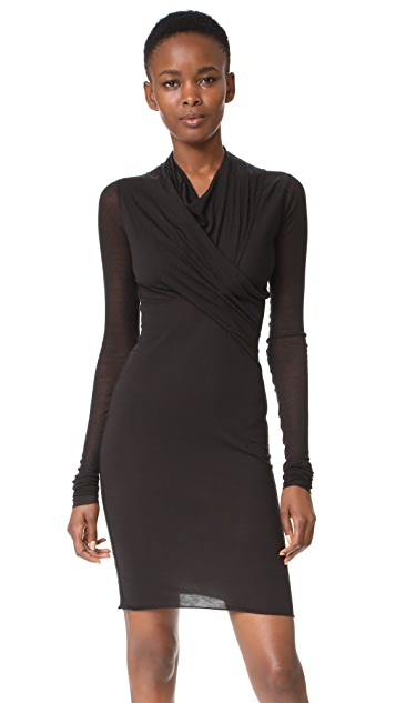 Rick Owens Lilies Long Sleeve Wrap Dress