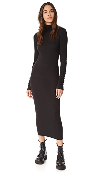 Rick Owens Lilies Long Sleeve Turtleneck Dress - Black