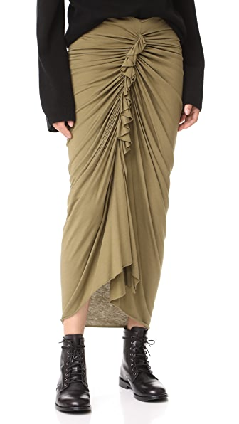 Rick Owens Lilies Gathered Skirt - Moss