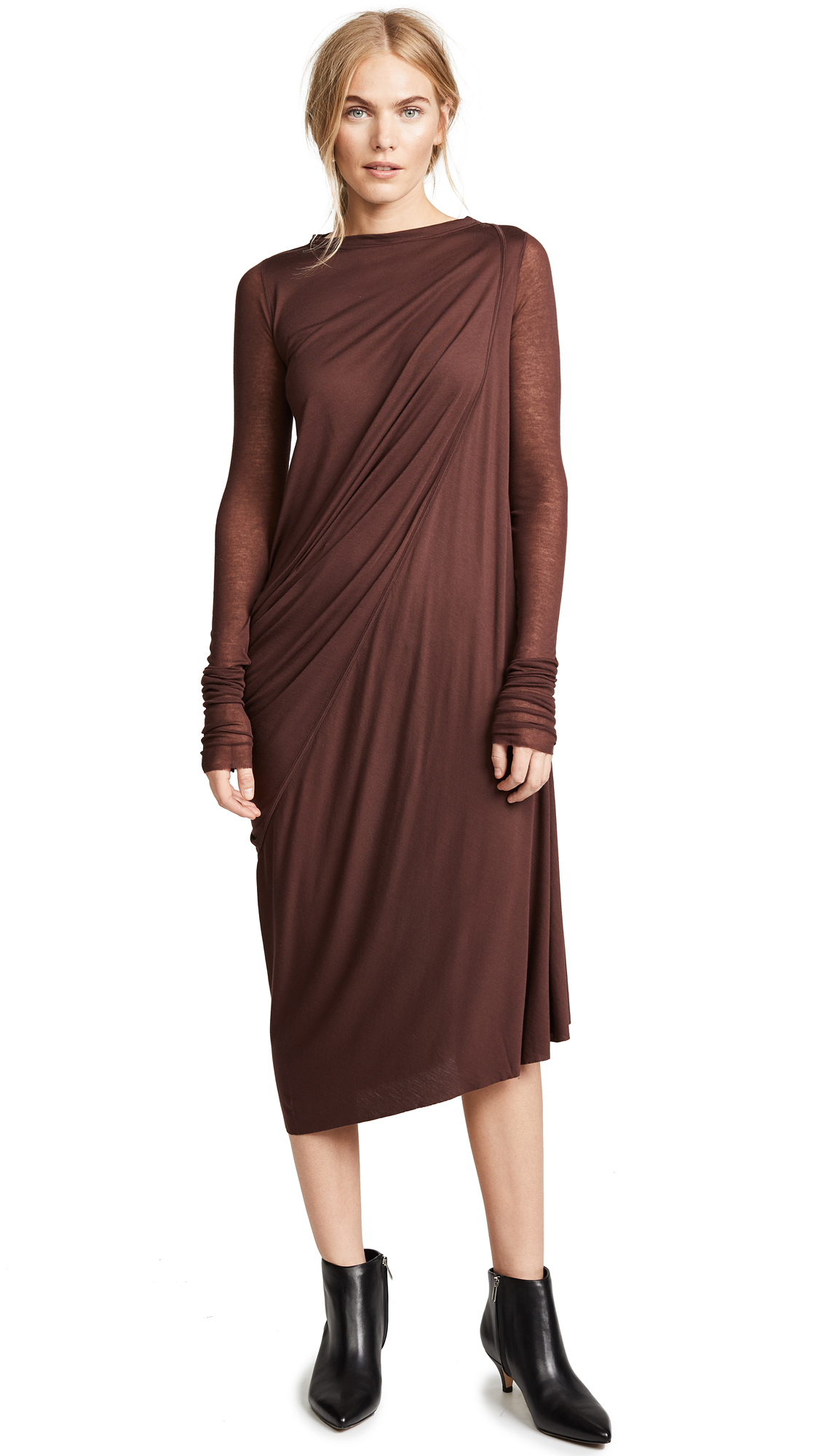Rick Owens Lilies Drape Front Dress In Blood