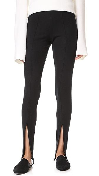 Rachel Pally Luxe Rib Front Slit Pants In Black