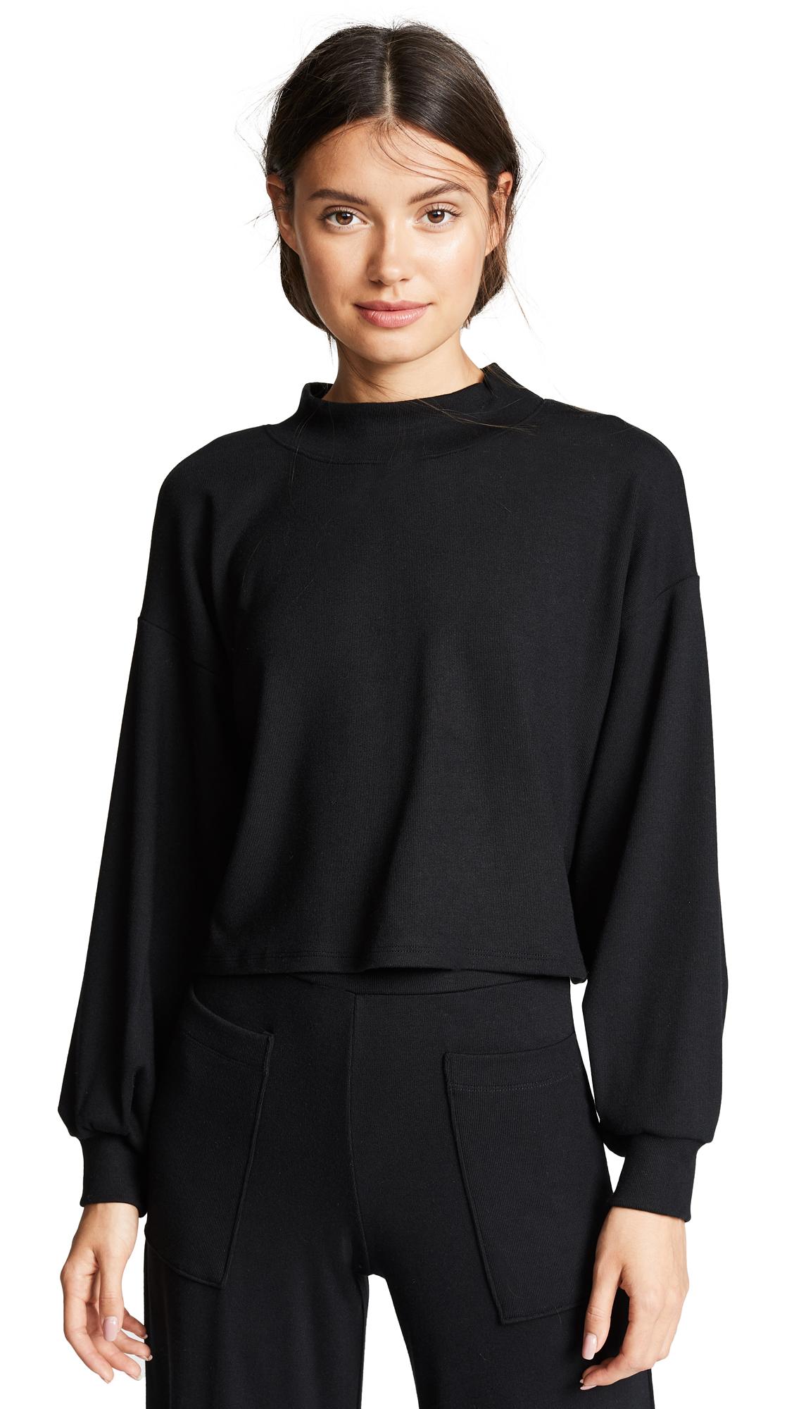 Rachel Pally Luxe Rib Sweatshirt In Black