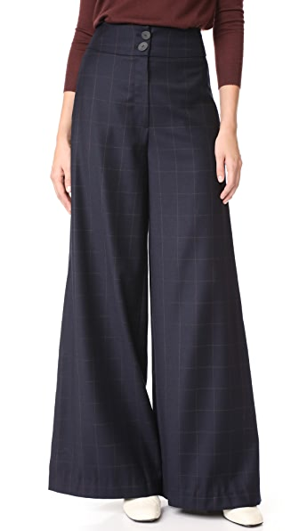 Rejina Pyo Beatrice Check Trousers - Navy Check