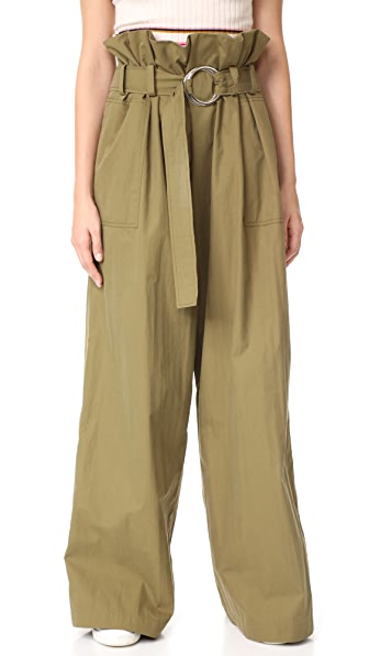 Rejina Pyo Tilly Belted Trousers In Khaki