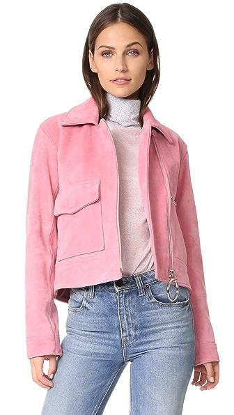 Замшевая байкерская куртка Sara Rejina Pyo. Цвет: розовая жевательная резинка