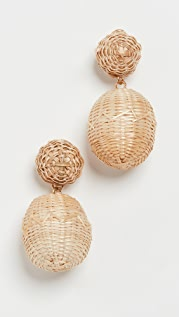 Rebecca De Ravenel 2 Drop Rattan BonBon Earrings