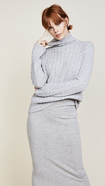 Ryan Roche Cable Mock Neck Sweater - Heather Grey