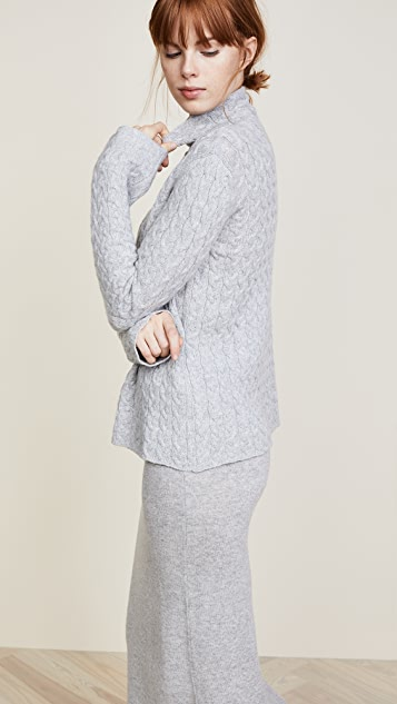 Ryan Roche Cable Mock Neck Sweater