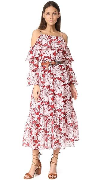 Robert Rodriguez Printed Ruffle Off Shoulder Dress - Crimson