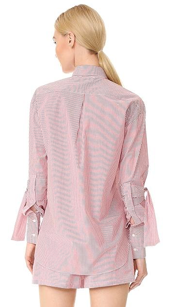 Robert Rodriguez Striped Peplum Sleeve Shirt