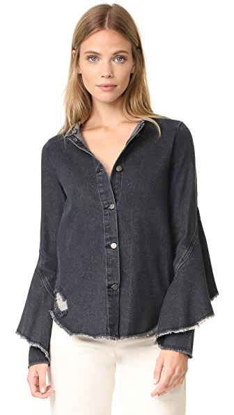 Robert Rodriguez Denim Ruffle Shirt In Black Denim