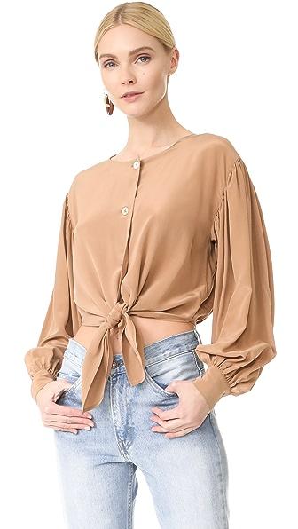Robert Rodriguez Шелковая блуза с завязками спереди