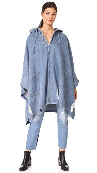 Robert Rodriguez Soft Denim Hooded Cape - Light Denim Wash