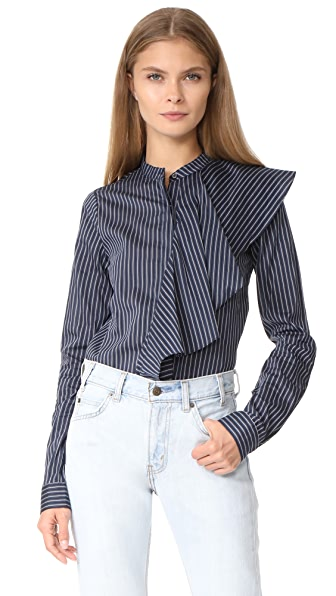 Robert Rodriguez Front Collar Ruffle Shirt In Blue Stripe