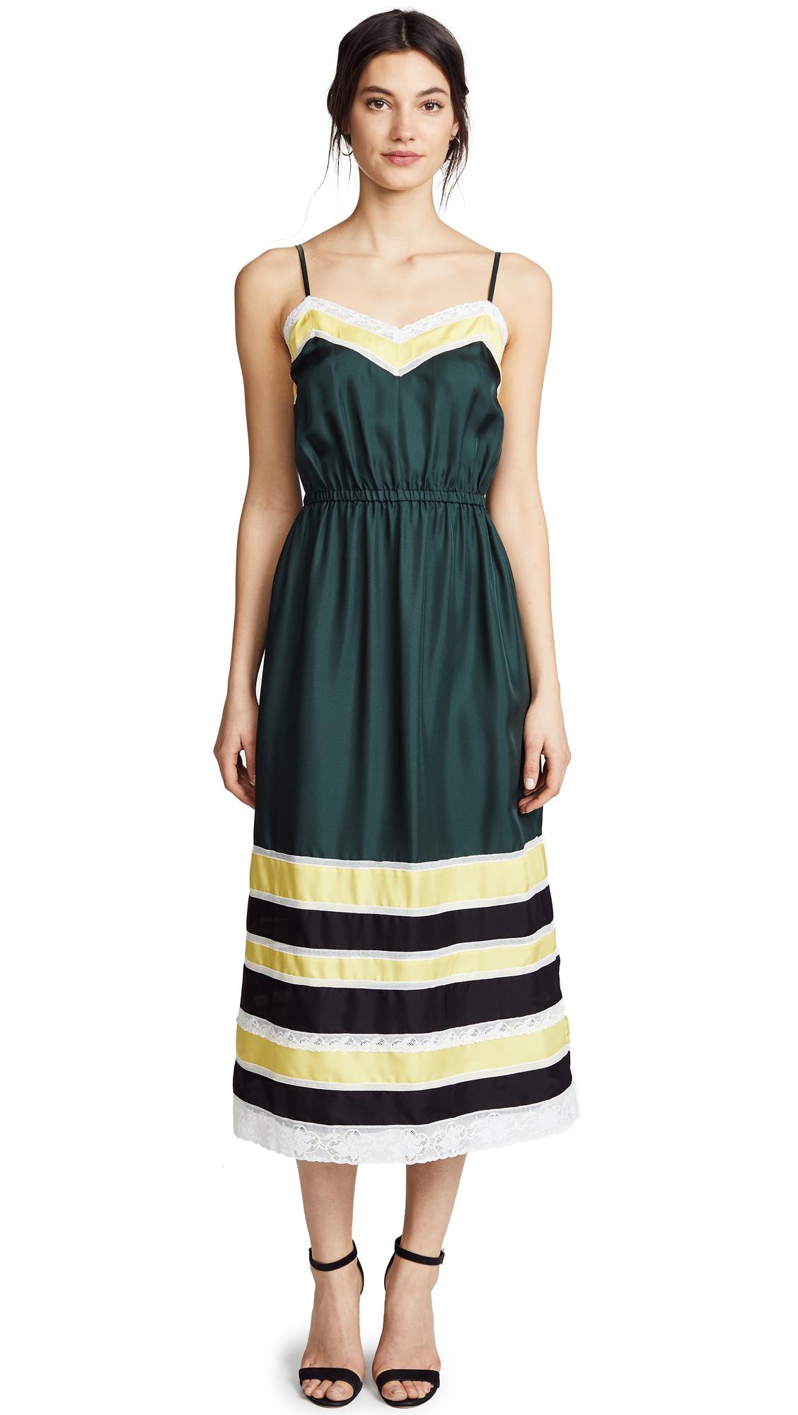 Robert Rodriguez Silk Slip Dress In Green Combo
