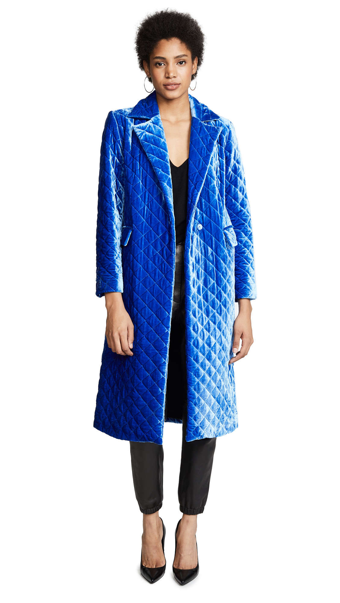 Quilted Velvet Coat - Blue Size L
