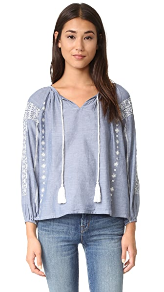 Roberta Roller Rabbit Maxima Embroidered Blouse - Chambray at Shopbop